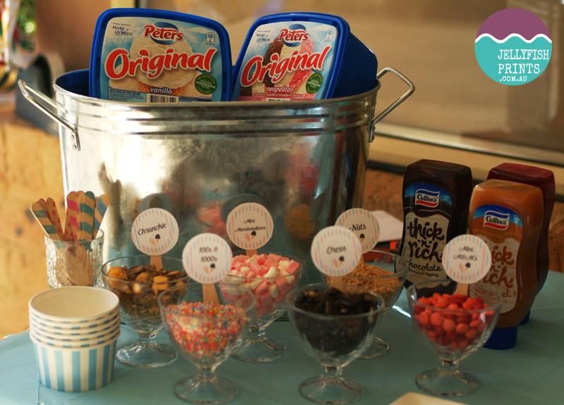 make your own ice cream sundae station