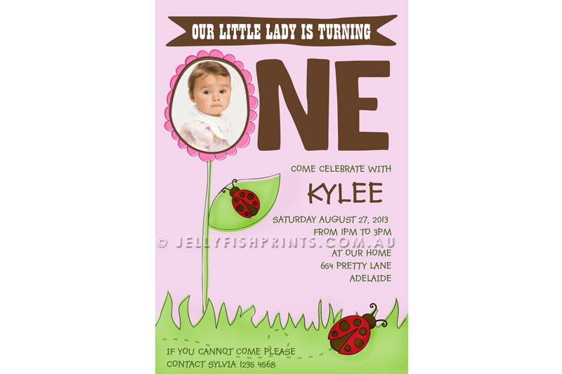 Ladybird birthday invitation