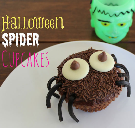 Cupcakes made into spiders.