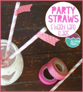 Cute straws embellished with a washi tape flag for a pink birthday party.