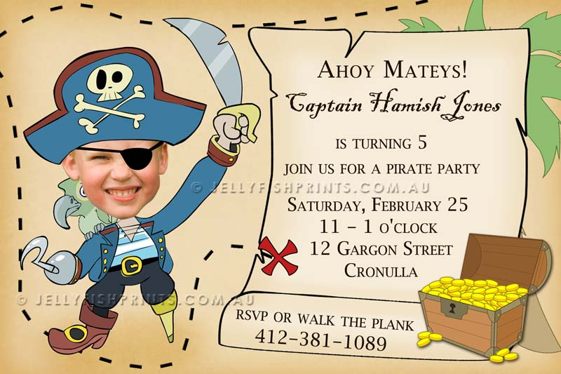Printable Pirate Party Invitations Jellyfish Prints – Pirate Party Invite
