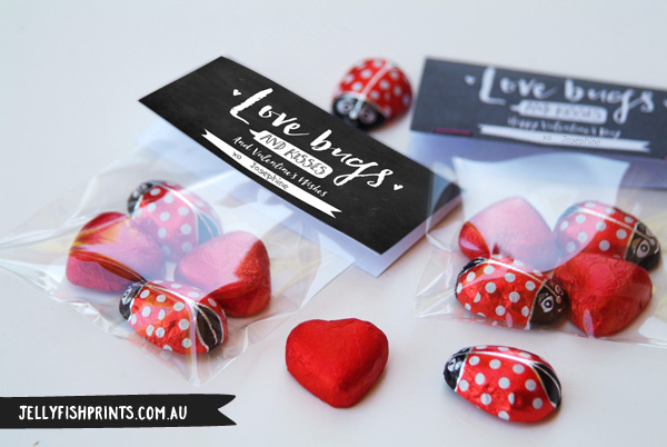 Printable Love Bugs Valentine's bag toppers - free download