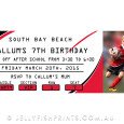 Red and black rugby league invitation for birthday party