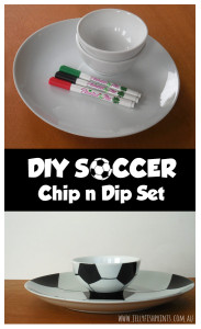 DIY chip n dip set for a soccer themed party.