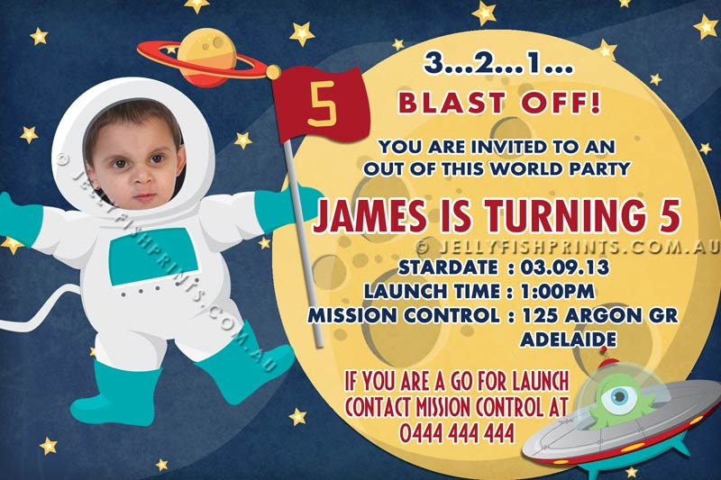 Outer Space Invitations For A Spaceman Birthday Party Invitation