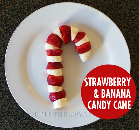 Healthy Christmas snack - fruit candy cane with banana & strawberries