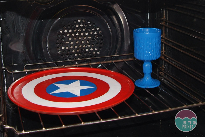 Baking the cake stand in the oven.