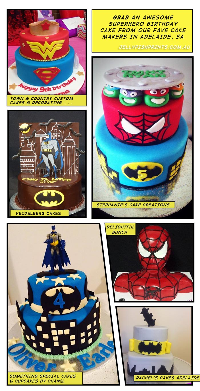 Yummy superheroes birthday cakes from Adelaide, Australia