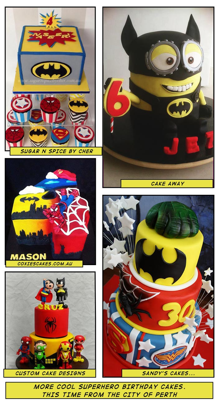 Superheroes cakes in the city of Perth, WA