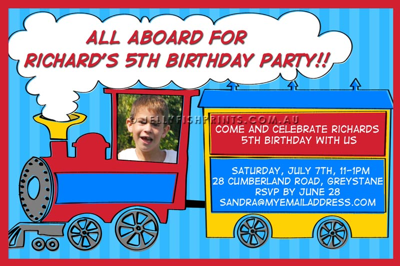 Train Birthday Party Invitation Bk209