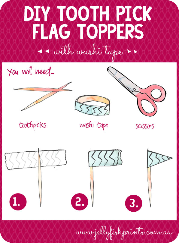 Make cute cupcake or fudge toppers with toothpick and washi tape.