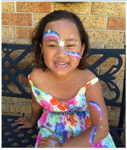 Australia Day face painting flag