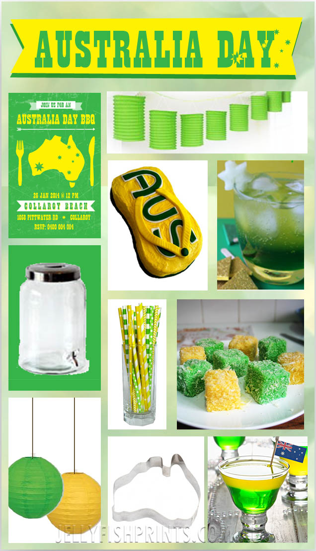 Australia day inspiration green and gold jellyfish prints for Australia day decoration
