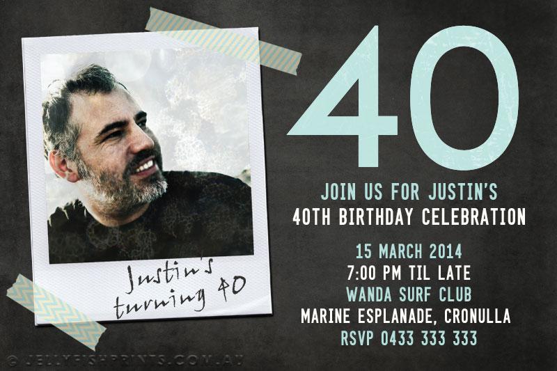Printable 40th Birthday Photo Invitations Jellyfish Prints