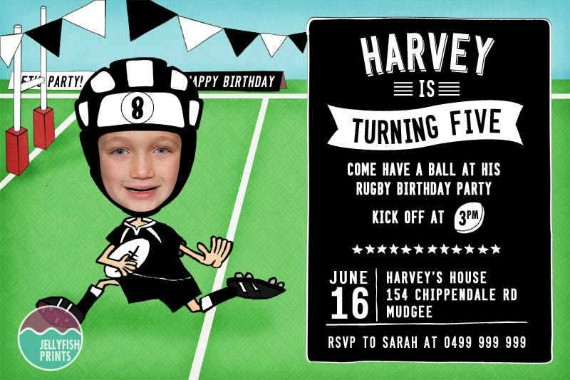 rugby birthday invitations that you can customise and print
