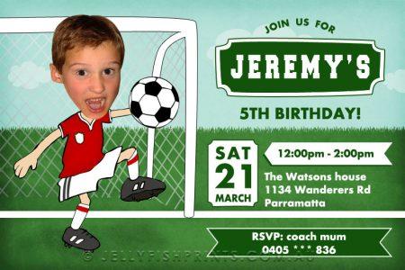 Printable Soccer Birthday Invitations for a boys football birthday party.