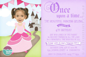Printable princess invitation design for birthday party