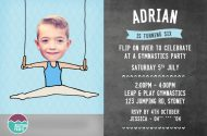 Gymnastic party invitations for a boy