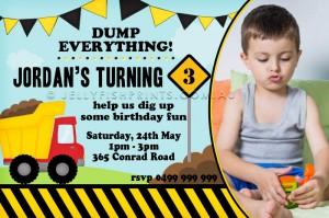 Construction party photo invitation design