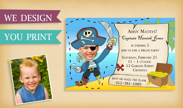 A Birthday invitation for a pirate theme party
