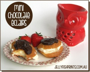 Yummy chocolate eclair recipe with choux pastry, whipped cream and chocolate topping.