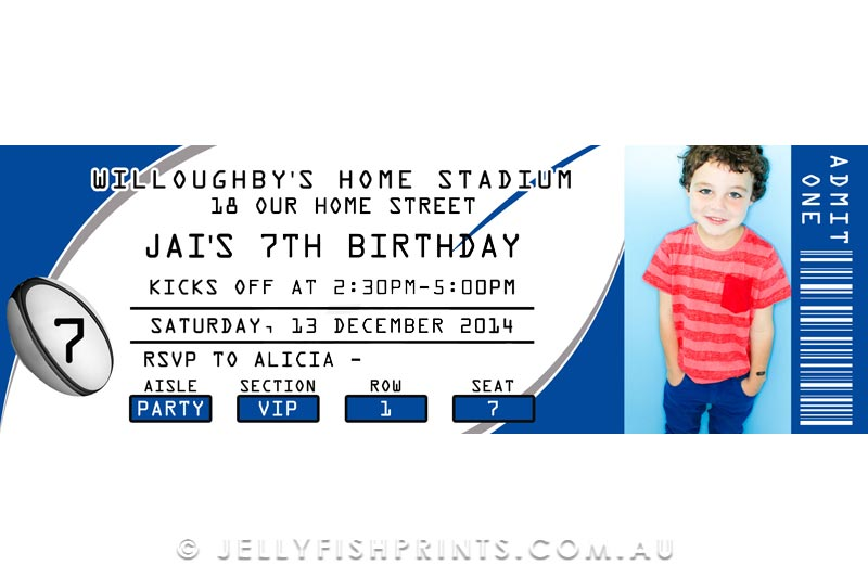 Printable Rugby League Birthday Invitations
