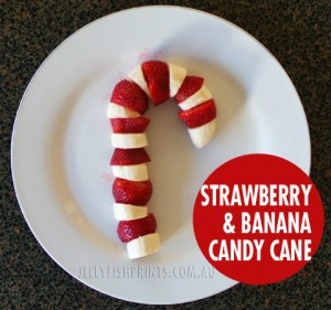 Christmas fruit snack candy cane with banana & strawberries