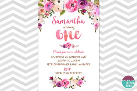 Floral first birthday invitations